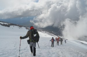 Group from Spokane descending- the gentleman pictured had a knee replacement in February.