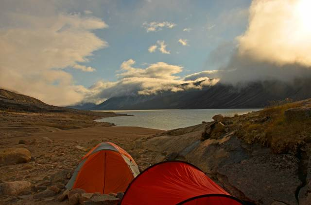 Summit Lake Camp between rainstorms