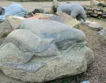 A stone carving in Iqaluit celebrates sea mammals