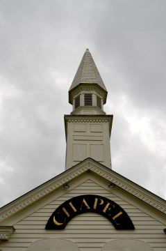 The chapel was designed like a traditional Vermont building.