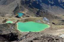 The Emerald Lakes sit in impact craters- as in, something really big bombed a hole in the earth and it filled with water and minerals that give it this wild color.